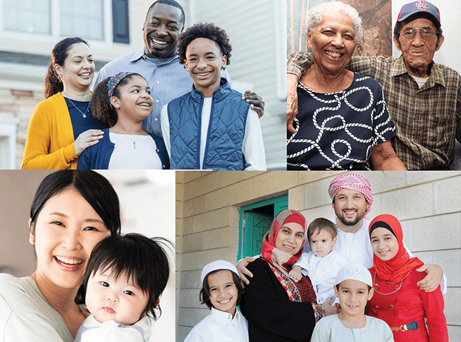 Collage of people and families smiling